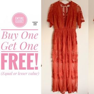 NWT Honey Punch Lace Romper Maxi Dress Orange Rust